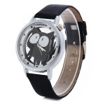 Shiweibao A7741 Cat Pattern Transparent Dial Female Quartz Watch with Leather Band