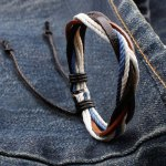 Retro Faux Leather Rope Twisted Bracelet For Men