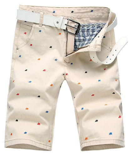Summer Straight Leg Fitted Funny Cartoon Animal Print Zipper Fly Men's Plus Size Shorts 29 OFF-WHITE