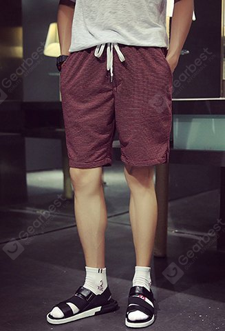 Slimming Sport Lace-Up Stripes Print Side Split Men's Straight Leg Shorts XL WINE RED