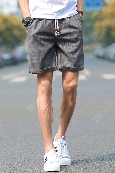 Loose Fit Trendy Lace-Up Sutures Design Straight Leg Men's Linen Blend Shorts 2XL DEEP GRAY