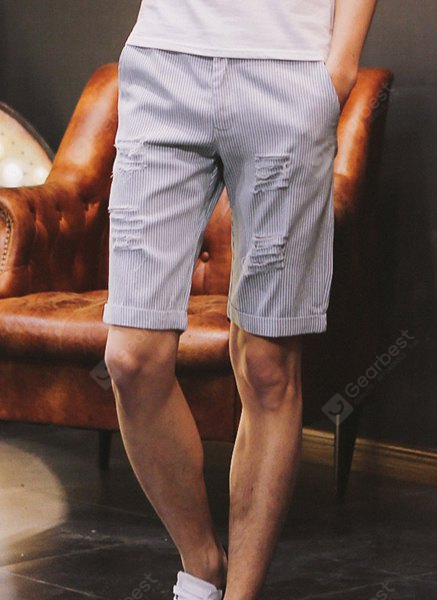 Slimming Fashion Pinstripe Holes Design Straight Leg Men's Cotton Blend Shorts L LIGHT BLUE
