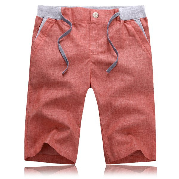 Splicing Slimming Zipper Fly Lace-Up Straight Leg Men's Cotton+Linen Shorts 4XL WINE RED