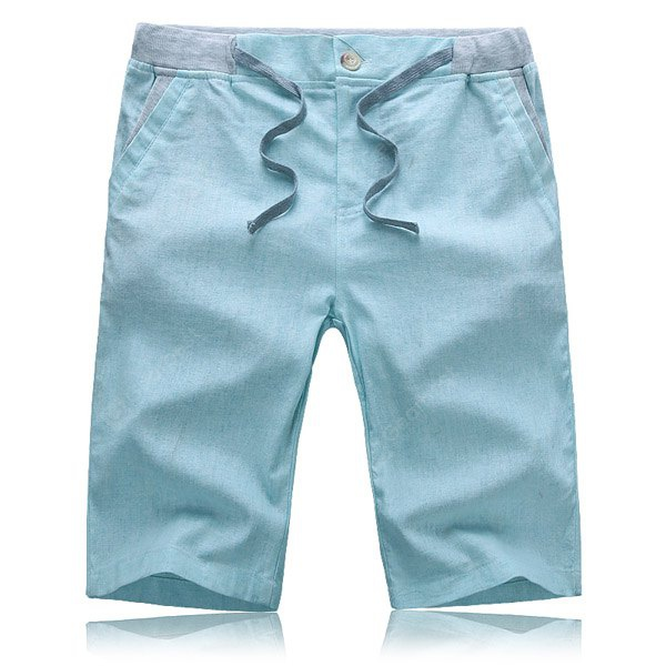 Splicing Slimming Zipper Fly Lace-Up Straight Leg Men's Cotton+Linen Shorts 4XL AZURE