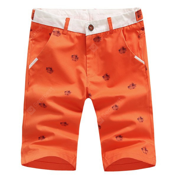 Color Block Splicing Slimming Patch Print Men's Zipper Fly Straight Leg Shorts L RED