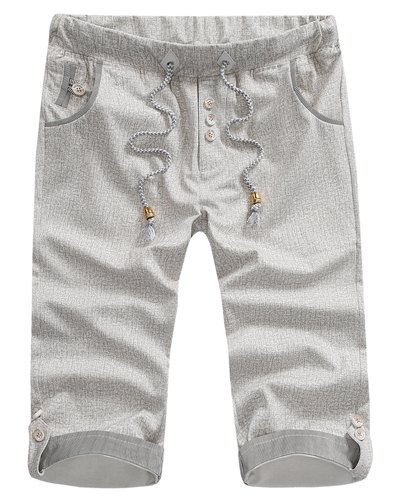 Fitted Striped Crimping Button Embellished Snowflake Men's Lace-Up Straight Leg Shorts 32 LIGHT GRAY