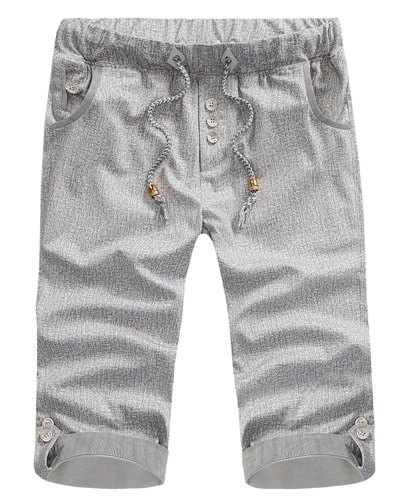 Fitted Striped Crimping Button Embellished Snowflake Men's Lace-Up Straight Leg Shorts 30 DEEP GRAY