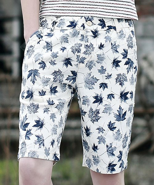 Slimming Fashion 3D Maple Leaf Print Straight Leg Men's Polyester Shorts L WHITE