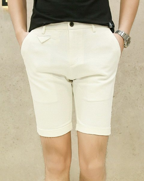 Slimming Fashion Candy Color Pocket Design Narrow Feet Men's Cotton Blend Shorts 31 WHITE