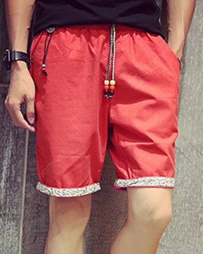 Casual Straight Leg Hang Decorations Tribal Printed Crimping Lace-Up Men's Linen Blended Shorts 2XL RED