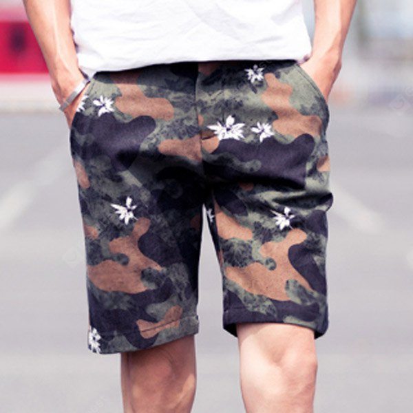 Camouflage Style Straight Leg Zipper Fly Flower Print Slimming Men's Cotton Blend Shorts XL COFFEE