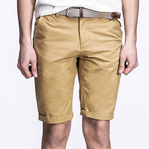 Laconic Straight Leg Zipper Fly Solid Color Crimping Pocket Design Men's Fitted Shorts 30 DARK KHAKI