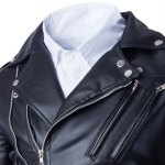 Trendy Lapel Slimming Solid Color Multi-Zipper Long Sleeve PU Leather Jacket For Men(with Belt) deal