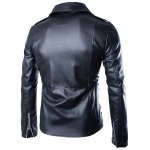 cheap Trendy Lapel Slimming Solid Color Multi-Zipper Long Sleeve PU Leather Jacket For Men(with Belt)