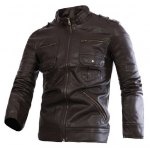 Buy Fashion Stand Collar Slimming Solid Color Multi-Zipper Long Sleeve PU Leather Jacket Men L