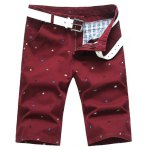 Buy Summer Straight Leg Fitted Funny Cartoon Animal Print Zipper Fly Men's Plus Size Shorts 29 CLARET