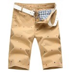 Buy Summer Straight Leg Fitted Funny Cartoon Animal Print Zipper Fly Men's Plus Size Shorts 29 KHAKI