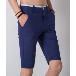 Buy Casual Straight Leg Slimming Color Block Pocket Zipper Fly Men's Cotton Blend Shorts 28