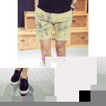 Buy Casual Straight Leg Fitted Linen Blended Coconut Tree Print Zipper Fly Men's Shorts XL APRICOT