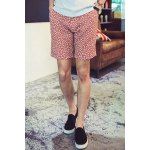 Buy Summer Straight Leg Fitted Leaf Pattern Crimping Zipper Fly Men's Linen Blended Printed Shorts 2XL RED