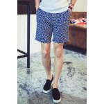 Buy Summer Straight Leg Fitted Leaf Pattern Crimping Zipper Fly Men's Linen Blended Printed Shorts 2XL BLUE