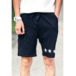 Buy Slimming Stylish Star Print Side Vertical Stripe Lace-Up Men's Straight Leg Short XL BLACK