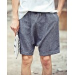 Buy Loose Fit Lace-Up Harem Crimping Straight Leg Men's Cotton+Linen Shorts L DEEP GRAY