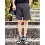 Buy Loose Fit Lace-Up Harem Crimping Straight Leg Men's Cotton+Linen Shorts 2XL BLACK GREY