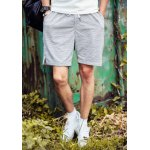 Buy Slimming Sport Lace-Up Stripes Print Side Split Men's Straight Leg Shorts XL LIGHT GRAY