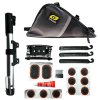 Kingsir Bike Tyre Repair Tool Kit Frame Bag + Patch Gum + Tyre Spoon + Cement + Filing Plate + Multifunctional Tool + Tire Pump