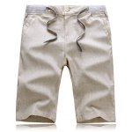 Buy Splicing Slimming Zipper Fly Lace-Up Straight Leg Men's Cotton+Linen Shorts 2XL