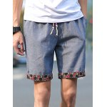 Buy Slimming Trendy Lace-Up Sutures Design Flower Print Flanging Straight Leg Men's Linen Blend Shorts 3XL GRAY