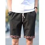 Buy Slimming Trendy Lace-Up Sutures Design Flower Print Flanging Straight Leg Men's Linen Blend Shorts XL