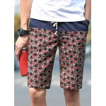 Buy Slimming Fashion Lace-Up Sunflower Pattern Color Splicing Straight Leg Men's Linen Blend Shorts 3XL