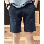 Buy Retro Style Straight Leg Slimming Large Pocket Solid Color Zipper Fly Men's Shorts 2XL DEEP BLUE
