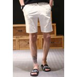 Buy Vintage Straight Leg Fitted Patch Embellished Solid Color Zipper Fly Men's Cotton Blend Shorts 2XL WHITE