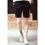 Buy Vintage Straight Leg Fitted Patch Embellished Solid Color Zipper Fly Men's Cotton Blend Shorts 2XL BLACK