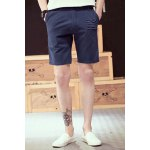 Buy Vintage Straight Leg Fitted Patch Embellished Solid Color Zipper Fly Men's Cotton Blend Shorts 2XL SAPPHIRE BLUE