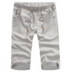Buy Fitted Striped Crimping Button Embellished Snowflake Men's Lace-Up Straight Leg Shorts 29