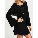 Stylish Scoop Neck Lace Embellished Hollow Out Flare Sleeve Dress For Women for sale