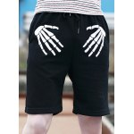 Buy Slimming Stylish Lace-Up Hand Bones Print Straight Leg Men's Polyester Shorts M