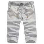 Buy Fitted Lace-Up Embroidered Anchor Embellished Snowflake Men's Straight Leg Shorts 33 LIGHT GRAY