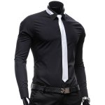 cheap Vogue Shirt Collar Solid Color Slimming Long Sleeve Polyester Business Shirt For Men(with Detachable Tie)