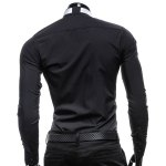 Vogue Shirt Collar Solid Color Slimming Long Sleeve Polyester Business Shirt For Men(with Detachable Tie) deal