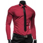 Buy Vogue Shirt Collar Solid Color Slimming Long Sleeve Polyester Business Men(with Detachable Tie) 2XL WINE RED