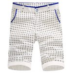 Buy Fitted Color Block Splicing Check Pattern Zipper Fly Crimping Straight Leg Shorts Men 29 BLACK