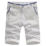 Buy Fitted Color Block Splicing Check Pattern Zipper Fly Crimping Straight Leg Shorts Men 29 BLUE
