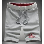 Buy Sports Style Straight Leg Plus Size Lace-Up Fitted Cross Letters Embroidery Men's Shorts 2XL GRAY