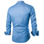 cheap Stylish Shirt Collar Color Block PU Leather Pocket Hemming Slimming Long Sleeve Denim Shirt For Men
