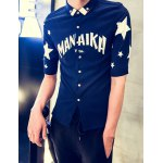 Buy Summer Style Turn-down Collar Letters Star Print Half Sleeves Men's Slim Fit Button-Down Shirt